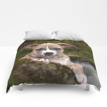 Pitbull puppy dog Comforters by ritmo boxer designs