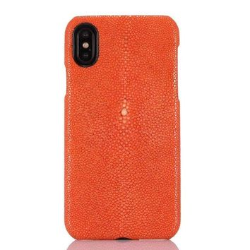 In stock 5 color for iphone X 5.8'' Pure Natural Pearl Fish Leather Back Cover Real Genuine Stingray Skin Phone Case For iphoneX