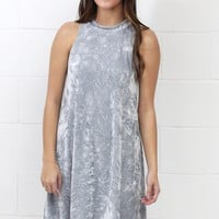 Iced Velvet Swing Tank Dress {Silver}