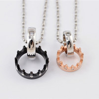 2014 new fashion lovers 316L stainless steel couple rhinestone love gear circle pendant necklace jewelry SP0308