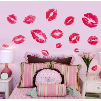 Hot sale kisses wall sticker lip print wall sticker 7086 decorative adesivo de parede removable vinyl wall stickers