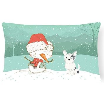 Black and White Terrier Snowman Christmas Canvas Fabric Decorative Pillow CK2095PW1216