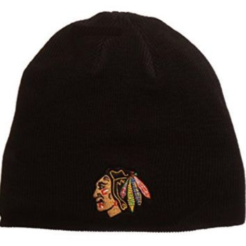 Chicago Blackhawks Black Edge Knit Hat By Top Of The World