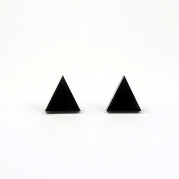 Black Triangle Earring Studs - Black Pyramid Jewelry - Black Earring Posts - Black Pyramid Studs - Geometric Jewelry