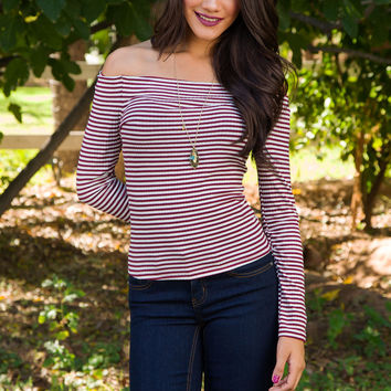 Royals Off The Shoulder Top - Burgundy