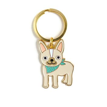 Friendly Frenchie Enamel Keychain