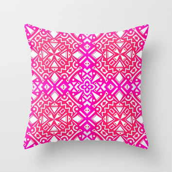 Tribal Tiles I (PINK) Geometric Throw Pillow by AEJ Design