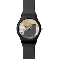 Chic Black Shiba Inu and Super Moon Watch