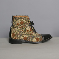 80s TAPESTRY & Leather BOOTS / Lace-Up Combat Boots, 8.5