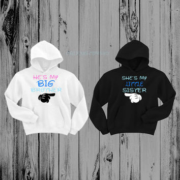 He's My Big Brother & She's My Little Sister Hoodies