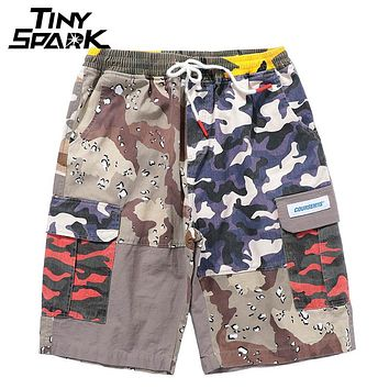 Hip Hop Cargo Short Pockets Color Block Patchwork Como Short Men Casual Elastic Waist Shorts Skateboard Street wear