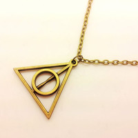 bronze Harry potter Deathly Hallows earrings,charming earrings,cute earrings EH65