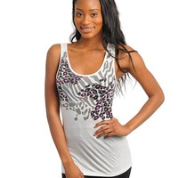 Womens White Animal Print Slashed Back Sleeveless Shirt Top Clothing Apparel