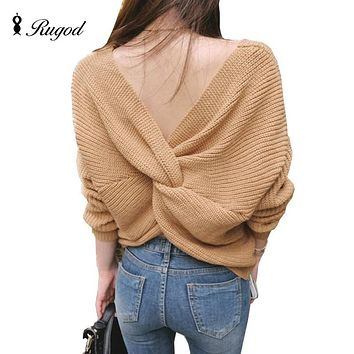 Rugod Autumn New Sexy Off Shoulder Sweater 2017 Pull Femme V Neck Cross Back Women Oversized Sweaters Long Sleeve Jumpers