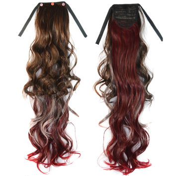 3 Colors Wig Horsetail Colorful Highlights   light brown+pink+bright red