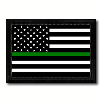 Thin Green Line Support Border Patrol American USA Flag Canvas Print Black Picture Frame Gifts Home Decor Wall Art