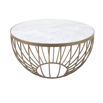 Marble & Gold Round Wire Geometric Modern Coffee Table
