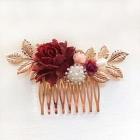 Delilah - Maroon Dusty Blush Pink Wedding Hair Comb