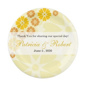 Pretty Yellow Flowers Personalized Wedding 7 Inch Paper Plate
