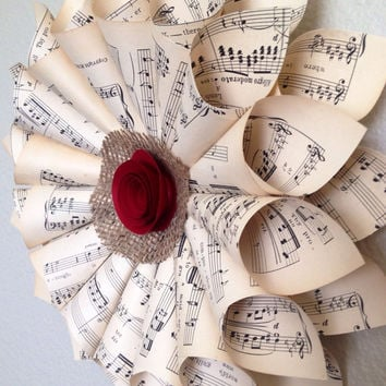 Music sheet wreath vintage home decor choir gift piano school teacher opera Christmas wreath