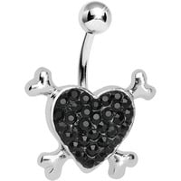 Black Gem Paved Heart and Crossbones Belly Ring | Body Candy Body Jewelry