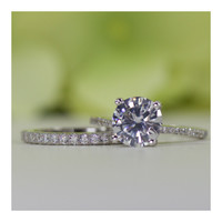 2.00 ct. Sterling Silver Round CZ Engagement Ring Set