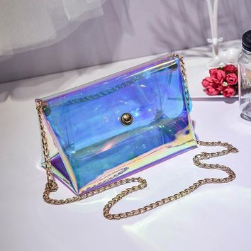 PVC laser transparent bag women's metal pole summer beach chain crossbody handbag clear lock candy color changing bags bolsa