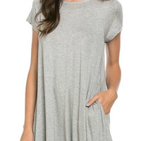Short Sleeve Trapeze Dress  - Gray