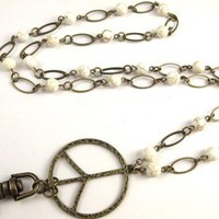 Lanyard Necklace with Peace Sign and White Magnesite