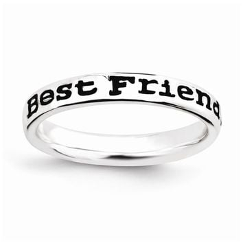 Sterling Silver Stackable Expressions Polished Enameled Friends Ring