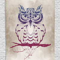 Owls Home Decor Night Owl on Marsala Tree Branch Cream Background Elegant Fancy Decor Art Deco Design Patterns Wall Decoration Tapestry for Bedroom Living Room Apartment, Navy Blue Burgundy