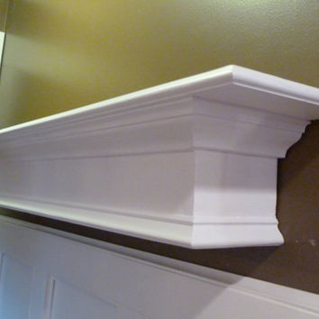 "White Mantle, 48""L  Floating Shelf, Wall Hanging, Fireplace Mantel, Modern Shelf, Entryway Shelf, Headboard"