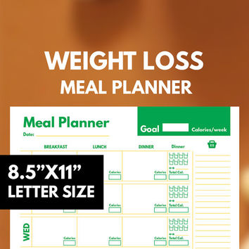 Diet Meal Planner Printable, Weight Loss, Diet Planner, Weekly, Groceries list, Goal Planner, Healthy Planner, Calories tracker, GetWellPlan