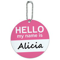 Alicia Hello My Name Is Round ID Card Luggage Tag