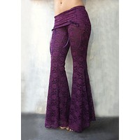 Purple Patchwork Lace Hollow-out Elastic Waist Fashion Flare Long Pants Bell Bottoms
