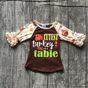 children girls thanksgiving raglans baby girls cutest turkey at the table raglans girls thankgiving party top raglans outfits