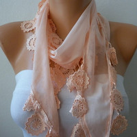 WAS 15 NOW USD 11  Salmon Scarf   Cotton  Scarf  by fatwoman