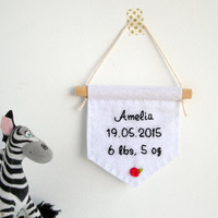Baby name banner, personalized baby gift, new baby gift, birth announcement, nursery decor, embroidered banner, baby shower gift, keepsake