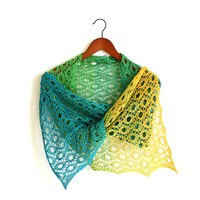 Knit shawl in gradient yellow, green and teal colors, knitted wrap, gift for her