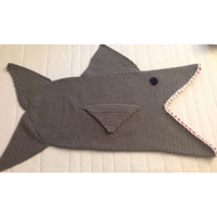 Shark Attack Kid's Blanket, Children's Nautical Afghan, Cocoon Style Toddler Blankie, Toothy Lapghan, Crochet Gray Photo Prop, Made to Order