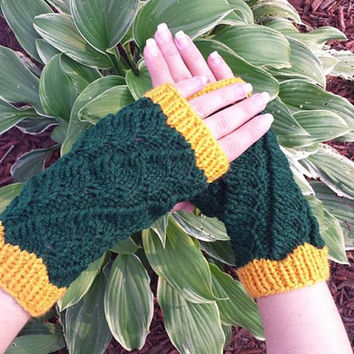 Green and orange Fingerless Mittens for Packers Fan girl or woman, beautiful unique winter accessory.