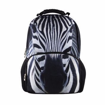 Cute Zebra School Bags for Children Animal Backpack Pattern for Students Girls Fashion Bookbag College Mochila Mens Day Pack bag