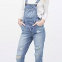Blue Frayed Broken Hole Pockets Denim Overalls