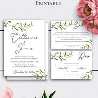 Greenery Wedding Invitation Suite, Wedding Sets, Rustic Watercolour Wedding Invite, Greenery Invitation, Modern Wedding, Personalized