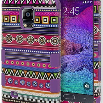 Samsung Galaxy Note 4,   Hybrid Purple with Aztec Tribal  Case