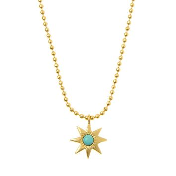 Afghan Gold Star Turquoise Necklace