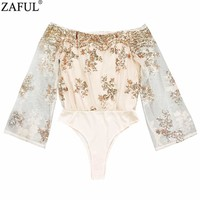 ZAFUL Women Jumpsuits Flare Sleeve Off The Shoulder Sequined Bodysuits Gold Sequin Leotard Bodysuits Embroidery Jumpsuit Rompers