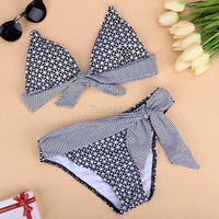 Sexy Ladies Women Two Pieces Halter Padded Plaid Dot Beach Swimwear Swimsuit Bikini Set 7_S SV023503