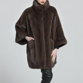 Fur Clothing Women Sable Genuine Mink Coat 85CM Length Mandarin Real Natural Fur Coat Mink Medium