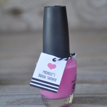 Personalized Bold Heart Bridal Shower Nail Polish Favor Tags: Choose Your Color